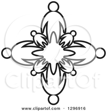 Clipart of Black and White Families Holding Hands in a Circle - Royalty Free Vector Illustration by Lal Perera