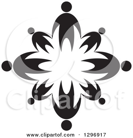 Clipart of Black Families Holding Hands in a Circle - Royalty Free Vector Illustration by Lal Perera
