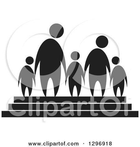 Clipart of a Black Silhouetted Family of Five Holding Hands on Steps - Royalty Free Vector Illustration by Lal Perera