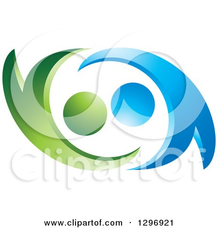 Clipart of a Green and Blue Abstract Couple Dancing or Embracing - Royalty Free Vector Illustration by Lal Perera