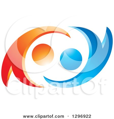 Clipart of a Blue and Orange Abstract Couple Dancing or Embracing - Royalty Free Vector Illustration by Lal Perera
