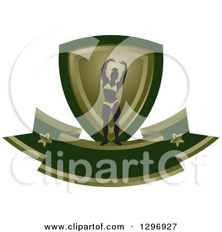 Clipart of a Silhouetted Flexing Female Bodybuilder with a Green and Gold Shield and Blank Banner - Royalty Free Vector Illustration by Lal Perera