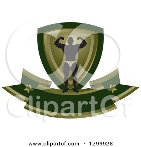 Clipart of a Silhouetted Flexing Male Bodybuilder with a Green and Gold Shield and Blank Banner - Royalty Free Vector Illustration by Lal Perera