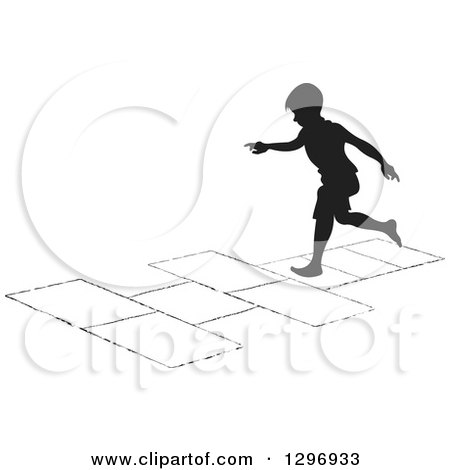 Clipart of a Black Silhouetted Boy Playing Hopscotch 4 - Royalty Free Vector Illustration by Lal Perera