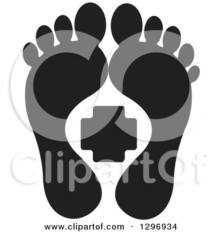 Clipart of a Black Silhouetted Feet and a First Aid Medical Cross - Royalty Free Vector Illustration by Lal Perera