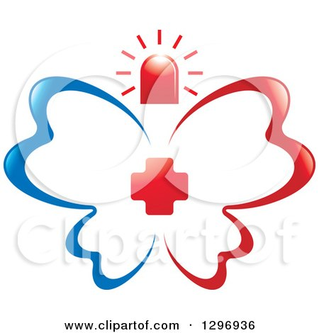 Clipart of a Blue and Red First Aid Medical Butterfly with a Cross and Siren - Royalty Free Vector Illustration by Lal Perera