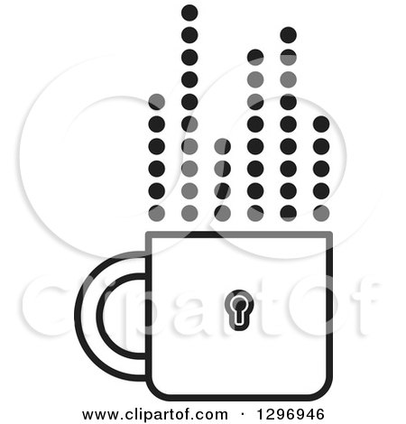 Clipart of a Black and White Padlock Cup with Dotted Steam Lines - Royalty Free Vector Illustration by Lal Perera