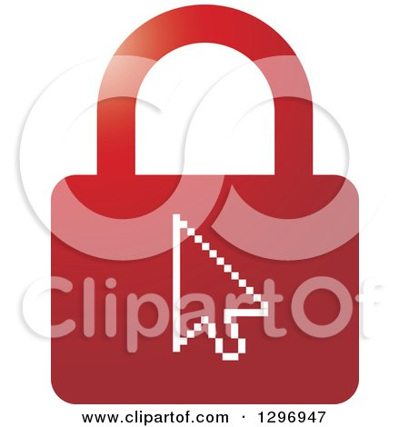 Clipart of a Red Padlock with Arrow Cursor - Royalty Free Vector Illustration by Lal Perera