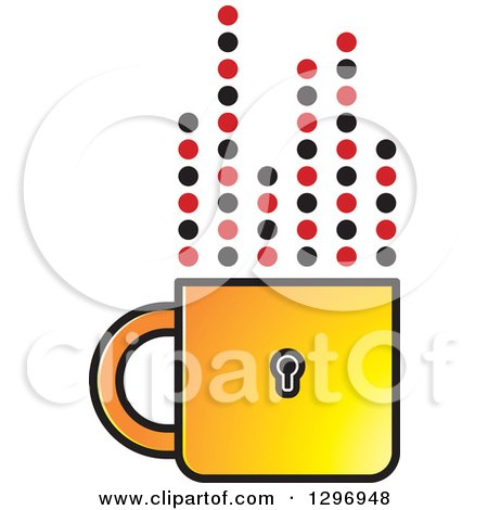 Clipart of a Yellow Padlock Cup with Dotted Steam Lines - Royalty Free Vector Illustration by Lal Perera