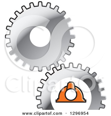 Clipart of Silver Gear Cogs and Industrial Orange Hard Hat Helmet - Royalty Free Vector Illustration by Lal Perera