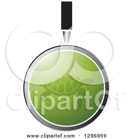 Clipart of a Magnifying Glass over a Green Sea Turtle - Royalty Free Vector Illustration by Lal Perera