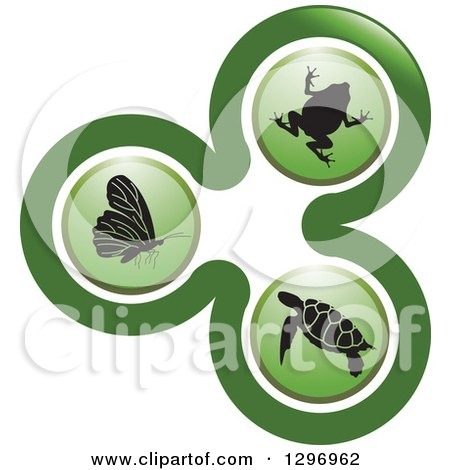 Clipart of a Green Biology Logo of a Frog, Sea Turtle and Butterfly in Circles - Royalty Free Vector Illustration by Lal Perera