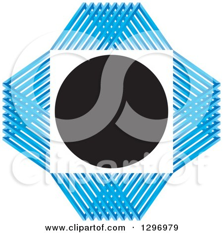 Clipart of a White Square and Black Circle with a Blue Grid Diamond - Royalty Free Vector Illustration by Lal Perera