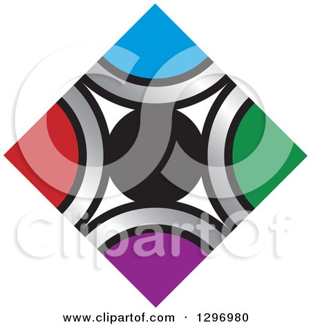 Clipart of a Circle and Diamond of Silver and Colors - Royalty Free Vector Illustration by Lal Perera