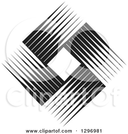 Clipart of a Diamond Made of Black and White Lines 2 - Royalty Free Vector Illustration by Lal Perera