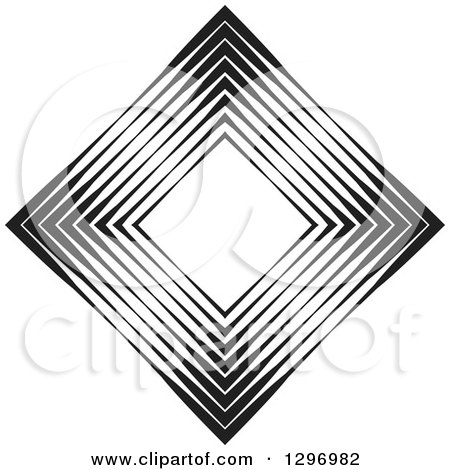 Clipart of a Diamond Made of Black and White Lines - Royalty Free Vector Illustration by Lal Perera