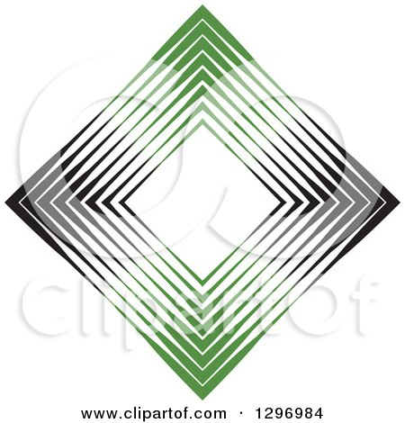 Clipart of a Diamond Made of Black and Green Lines - Royalty Free Vector Illustration by Lal Perera