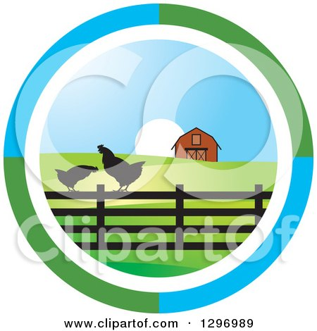 Clipart of a Circle Scene of a Sunrise with a Barn and Chickens - Royalty Free Vector Illustration by Lal Perera