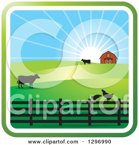 Clipart of a Sunrise with a Barn, Chickens and Cows - Royalty Free Vector Illustration by Lal Perera