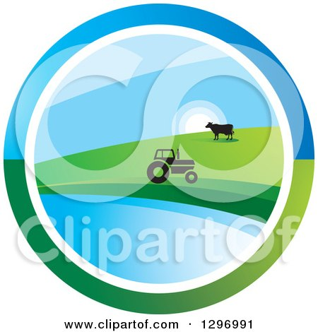 Clipart of a Circle Scene of a Sunrise with a Tractor and Cow at a Pond - Royalty Free Vector Illustration by Lal Perera