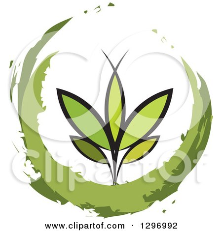 Clipart of a Seedling Plant in a Painted Circle - Royalty Free Vector Illustration by Lal Perera
