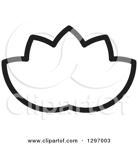 Clipart of a Black and White Water Lily Lotus Flower - Royalty Free Vector Illustration by Lal Perera