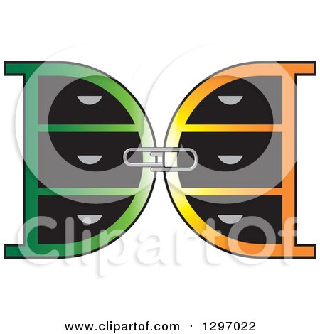 Clipart of a Paperclip Connecting Mirrored Green and Orange Letter D Lockers - Royalty Free Vector Illustration by Lal Perera