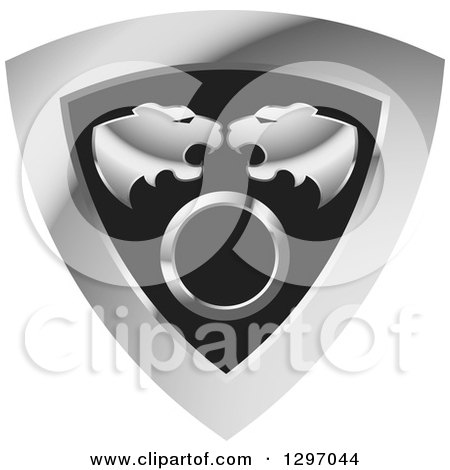 Clipart of Roaring Tiger Heads over a Circle in a Silver and Black Shield - Royalty Free Vector Illustration by Lal Perera