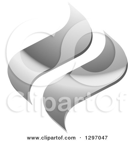 Clipart of Gradient Silver Swooshes - Royalty Free Vector Illustration by Lal Perera