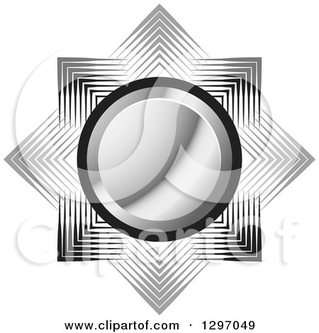 Clipart of a Silver Circle over Gray and Black Lines - Royalty Free Vector Illustration by Lal Perera