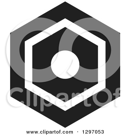 Clipart of a Black and White Nut - Royalty Free Vector Illustration by Lal Perera