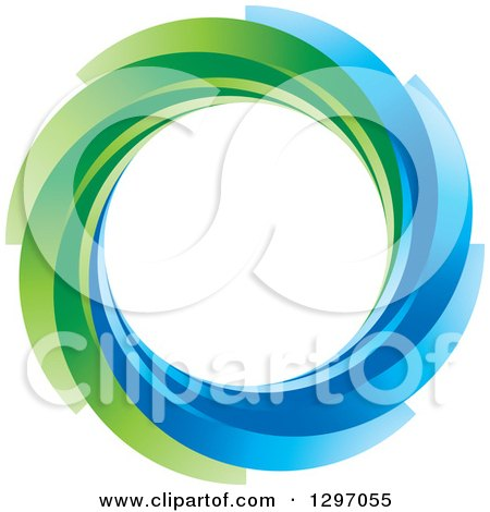 Clipart of a Circle of Blue and Green Swooshes - Royalty Free Vector Illustration by Lal Perera