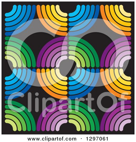 Clipart of a Background of Colorful Circles on Black - Royalty Free Vector Illustration by Lal Perera