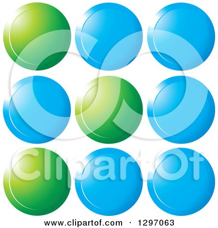 Clipart of Shiny Blue and Green Circles - Royalty Free Vector Illustration by Lal Perera