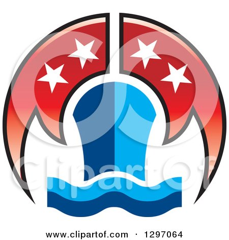 Clipart of a Blue Cruiseship and Waves with Red Flags and Stars - Royalty Free Vector Illustration by Lal Perera