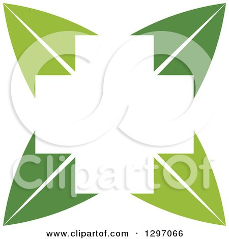 Clipart of a White Cross in the Center of Green Leaves - Royalty Free Vector Illustration by Lal Perera