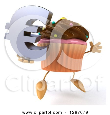 Clipart of a 3d Chocolate Frosted Cupcake Character Facing Right, Jumping and Holding a Euro Symbol - Royalty Free Illustration by Julos
