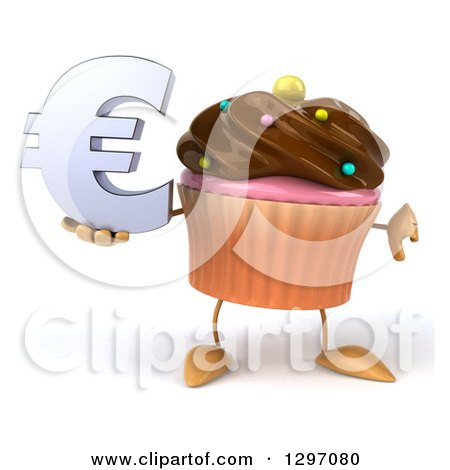 Clipart of a 3d Chocolate Frosted Cupcake Character Holding a Thumb down and Euro Symbol - Royalty Free Illustration by Julos