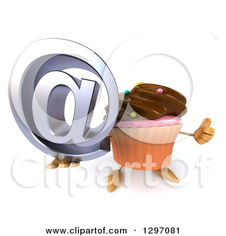 Clipart of a 3d Chocolate Frosted Cupcake Character Holding up an Email Symbol and Thumb - Royalty Free Illustration by Julos