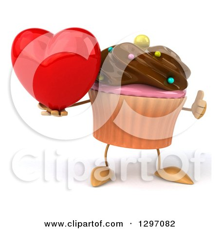 Clipart of a 3d Chocolate Frosted Cupcake Character Holding a Heart and Thumb up - Royalty Free Illustration by Julos