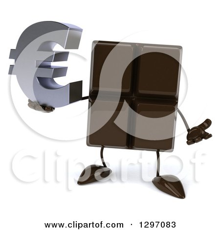 Clipart of a 3d Chocolate Candy Bar Character Shrugging and Holding a Euro Symbol - Royalty Free Illustration by Julos