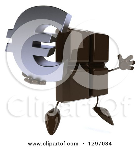 Clipart of a 3d Chocolate Candy Bar Character Facing Right, Jumping and Holding a Euro Symbol - Royalty Free Illustration by Julos