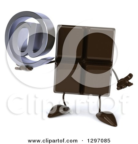 Clipart of a 3d Chocolate Candy Bar Character Shrugging and Holding an Email Arobase at Symbol - Royalty Free Illustration by Julos