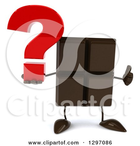 Clipart of a 3d Chocolate Candy Bar Character Giving a Thumb up and Holding a Question Mark - Royalty Free Illustration by Julos