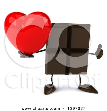 Clipart of a 3d Chocolate Candy Bar Character Giving a Thumb up and Holding a Love Heart - Royalty Free Illustration by Julos