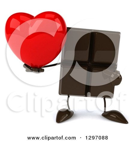 Clipart of a 3d Chocolate Candy Bar Character Holding and Pointing to a Love Heart - Royalty Free Illustration by Julos