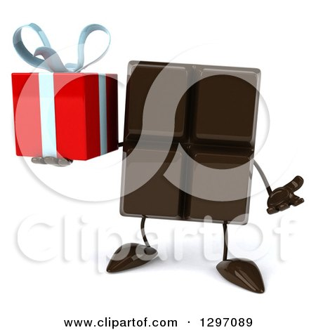 Clipart of a 3d Chocolate Candy Bar Character Shrugging and Holding a Gift - Royalty Free Illustration by Julos