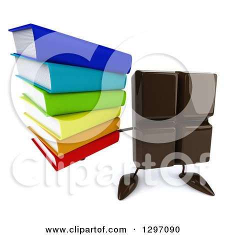 Clipart of a 3d Chocolate Candy Bar Character Holding up a Stack of Books - Royalty Free Illustration by Julos