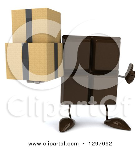Clipart of a 3d Chocolate Candy Bar Character Giving a Thumb up and Holding Boxes - Royalty Free Illustration by Julos