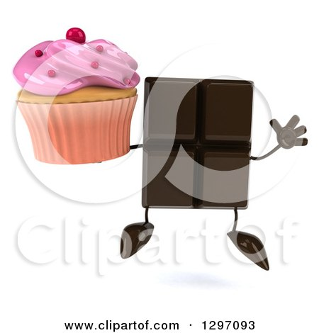 Clipart of a 3d Chocolate Candy Bar Character Jumping and Holding a Pink Frosted Cupcake - Royalty Free Illustration by Julos